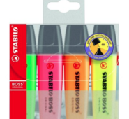 Set de Stabilo Boss (Jaune, Orange, Rose, Vert, 5mm)
